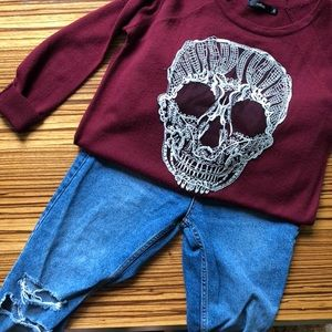 Skull Embroidered Sweater